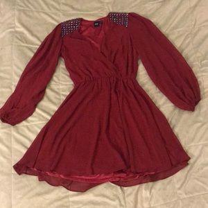 euc • ASOS • red v neck dress